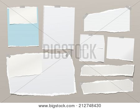 White ripped notebook paper sheets, note for text or message stuck with sticky tape
