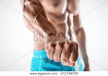 Man Bodybuilder Showing Fist