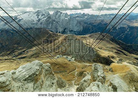 View from top to Sass Pordoi Sella Group Dolomiti Italia