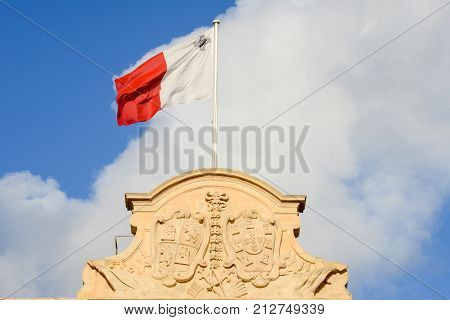 Malta National Flag On Auberge De Castille At La Valletta
