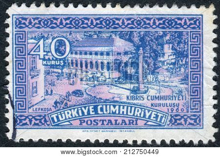 TURKEY - CIRCA 1960: Postage stamp printed in Turkey dedicated to Independence of the Republic of Cyprus depicted Ataturk Square Nicosia circa 1960