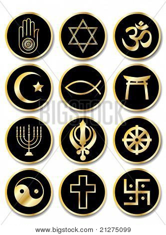 A set of stickers - Religious symbols. Gold isolated on black. EPS10 vector format.