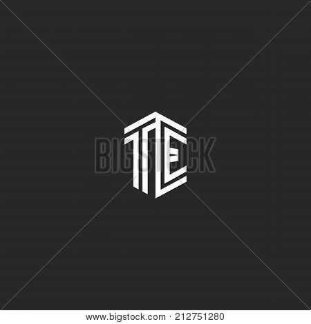 Letters Te Logo Monogram Template Two Lines Outline Style. Isometric Shape Hipster Initials Et, Comb