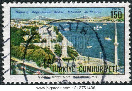 TURKEY - CIRCA 1973: Postage stamp printed in Turkey dedicated to the Inauguration of the Bosporus Bridge from Istanbul to Uskudar circa 1973