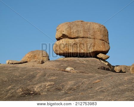 Unique shaped granite boulder in Hampi India.