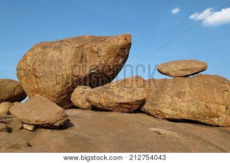 Unique granite boulder in Hampi. Karnataka, India.