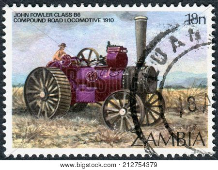 ZAMBIA - CIRCA 1983: A stamp printed in Zambia shows a John Fowler and Co Class B6 Road Steam Locomotive 1910 circa 1983