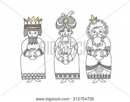 three kings for christian christmas holiday - Melchior, Gaspard and Balthazar, three wise men bring presents to Jesus, vector illustration
