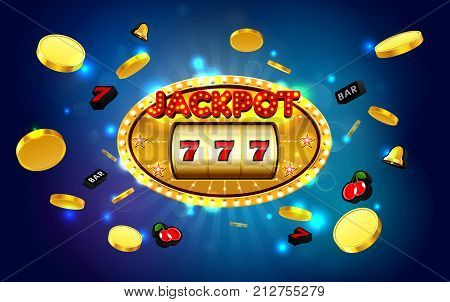 jackpot lucky wins golden slot machine casino with light background vector illustration