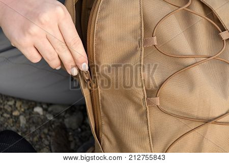 Hand Girl Zipper Backpack For Radial Local Hikes Closeup