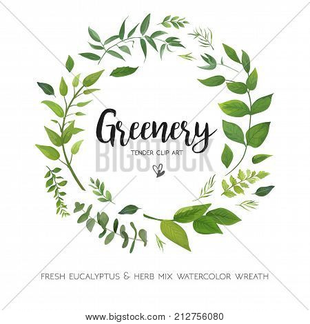 Floral vector card Design with green Eucalyptus fern leaves elegant greenery herbs forest round circle wreath beautiful cute rustic frame border print. Vector garden illustration Wedding Invitation