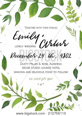 Wedding Invitation floral invite card Design with green fern leaves elegant greenery foliage eucalyptus forest bouquet round frame wreath print. Vector rustic eco friendly postcard cute illustration