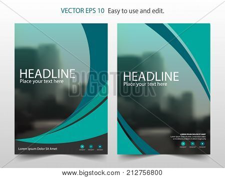 Green abstract Brochure annual report design template vector. Business Flyers infographic magazine poster.Abstract layout template Book Cover presentation portfolio.