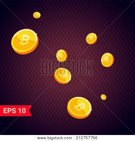 Vector coin icon with shadows isolated on dark  eps 10 - stock vector