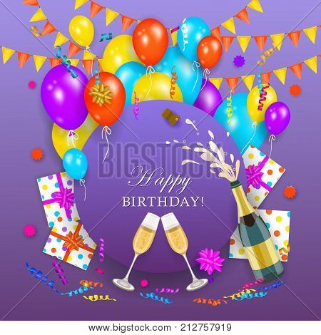 vector happy birthday invitation card, poster banner template with air balloons, party hats present boxes in wrapping, opened gushing shampagne bottle with wineglasses. Purple background illustration