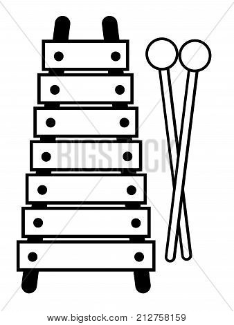 A toy xylophone in black and white outline isolated on a white background