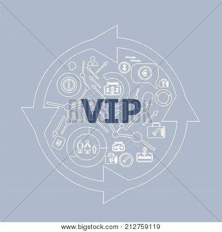 Text Vip. Social Concept . Icon And Button Set