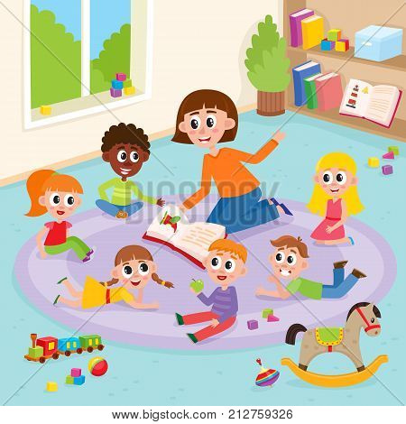 Kindergarten kids in classroom and teacher who reads them a book, comic, cartoon vector illustration. Teacher reading book to kids sitting around, listening with interest, kindergarten interior