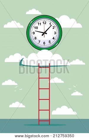 cloud and clock with ladder background. Stock flat vector illustration.