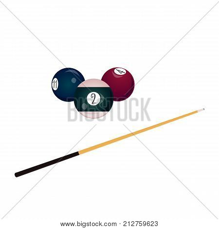 vector flat colored balls with numbers and wooden cue with black handle. Isolated illustration on a white background. Professional snooker set, pool billiard equipment, instrument for your design.