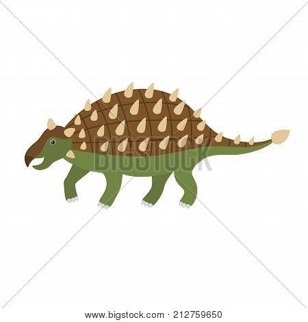 Cute cartoon ankylosaurus. Vector illustration of dinosaur isolated on white background.