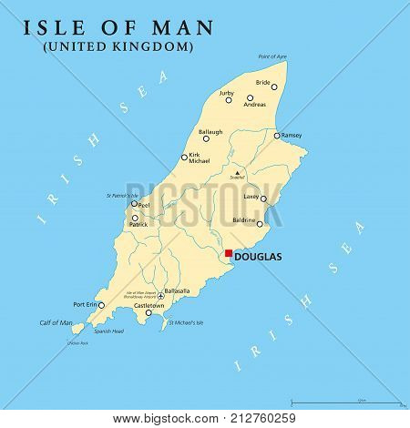 Isle of Man political map with capital Douglas and important cities. Also known as Mann, a self governing Crown dependency in the Irish Sea and a tax haven. English labeling. Illustration. Vector.