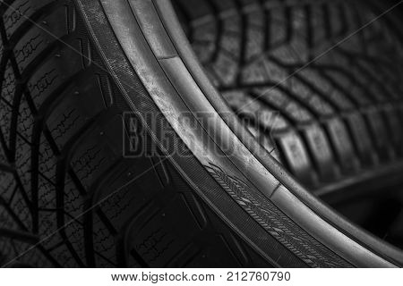 Winter tire close-up. Texture of car tire tread.