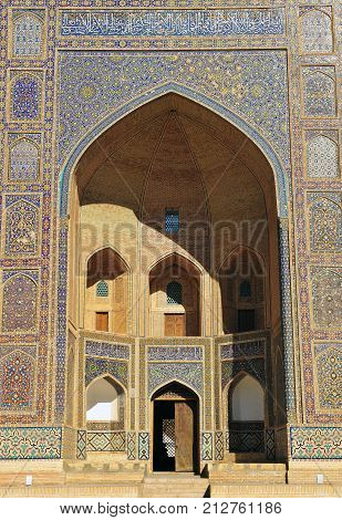 Bukhara: view of Miri Arab Madrasa entrance