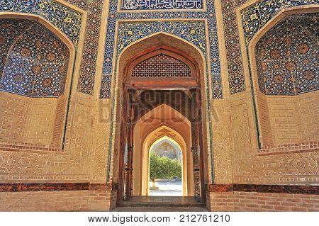 Bukhara: view of the Kalon mosque entrance