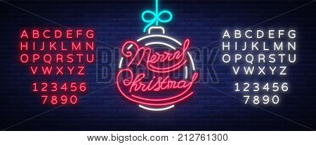Merry Christmas text, template design letter template, cover in a neon style. Celebratory greetings bright gift poster, banner, flyer, vector illustration. Editing text neon sign. Neon alphabet.
