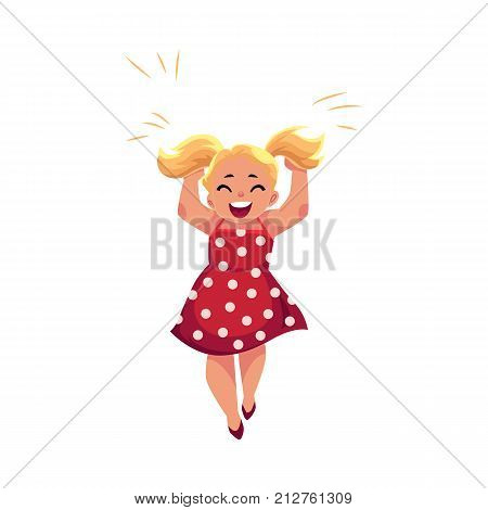 Portrait of happy little girl in polka dot pinafore dress with two ponytails, cartoon vector illustration isolated on white background. Happy and excited cartoon little girl in summer apron dress