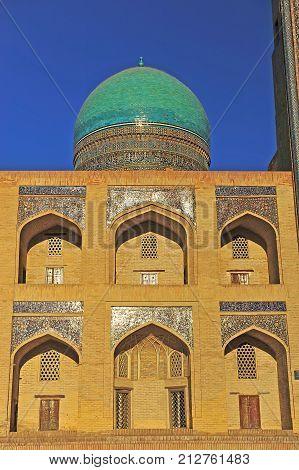 Bukhara: view of Miri Arab madrasah on sunset