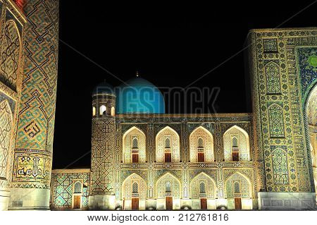Samarkand: the night view of Registan ensemble
