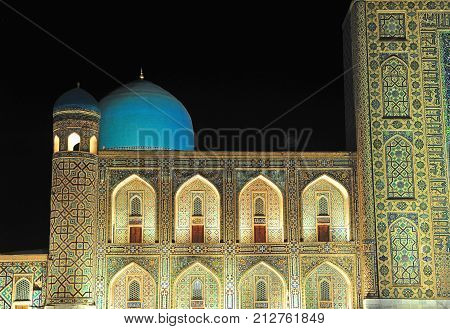 Samarkand: the night domes of Registan ensemble