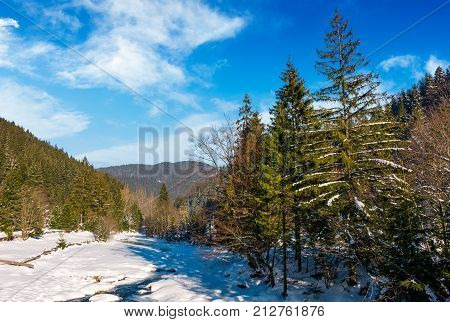 Frozen River In Forested Mountains