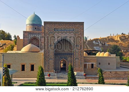 Samarkand: view of the shah-i-zinda ensemble gate