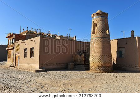 Khiva: view of the minaret in old town