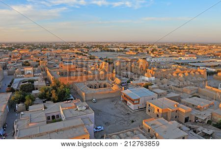 Khiva: panorama of old town on sunset