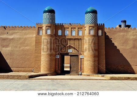 Khiva: view of the beautiful arch of old town