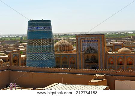 Khiva: view of the medieval architecture of old town