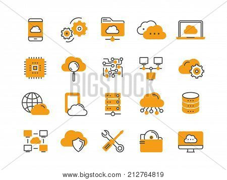 Cloud omputing. Internet technology. Online services. Data, information security. Connection. Thin line blue web icon set. Outline icons collection.Vector illustration.