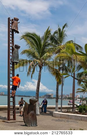 Searching For Reason Statue At Puerto Vallarta, Mexico