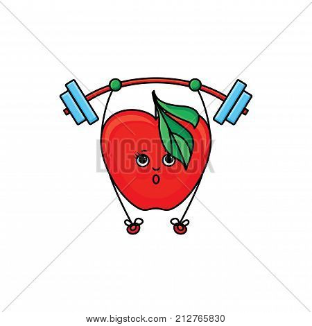 vector flat sketch style red fresh ripe apple character with eyes, hands and legs lifting barbell. Isolated illustration on white background. Healthy vegetarian eating, dieting and sport lifestyle
