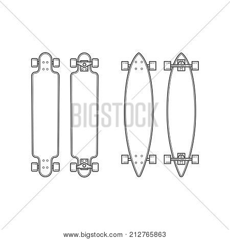 Set of longboards of various shapes. Line drawing. Vector illustration.