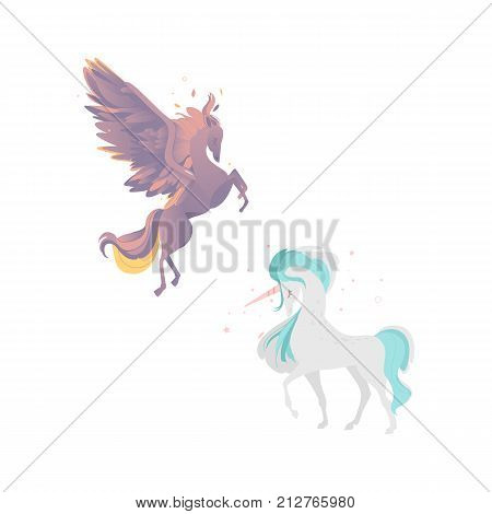 vector flat cartoon mythical animals set. Rearing pegasus fairy fictional horse with eagle wings with rich plumage, feathering and elegant unicorn. Isolated illustration on a white background.