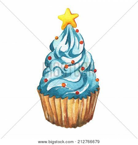 Blue cupcake a christmas tree shape. Winter holiday, Christmas decoration, for greeting cards, invitations. Happy New Year. Watercolor hand drawn painting illustration isolated on white background.