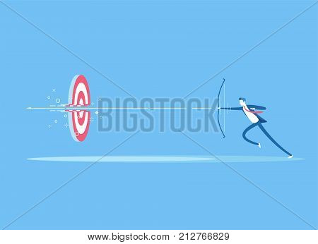 Businessman on the run shoots a bow at a target and destroying it. A man shoots an arrow from a bow right in the center of the target. Business concept the goal and right decision vector illustration