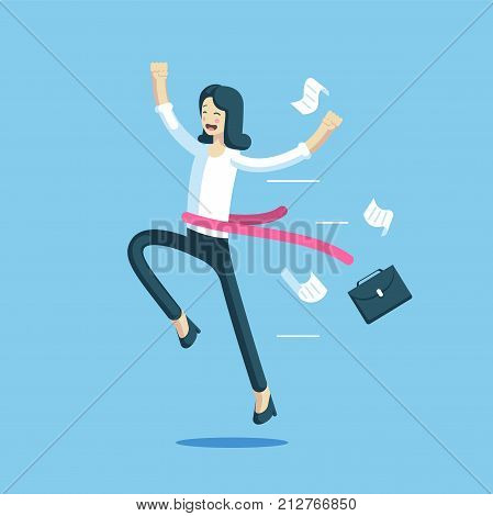 Businesswoman crossed the finish line first. Office worker with a red ribbon at the waist rejoice her victory. Business concept success and winner. Vector business character