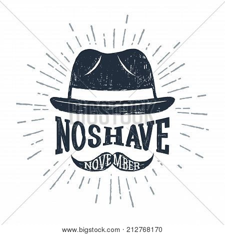 Hand drawn fedora hat textured vector illustration and