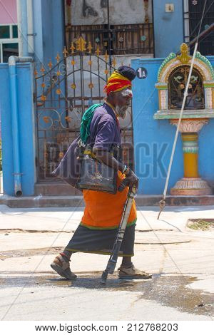 Kanchipuram, Tamil Nadu, India, March 19, 2015 Unidentified old sadhu men in India street